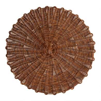 Round Brown Faux Rattan Wipe Off Placemat