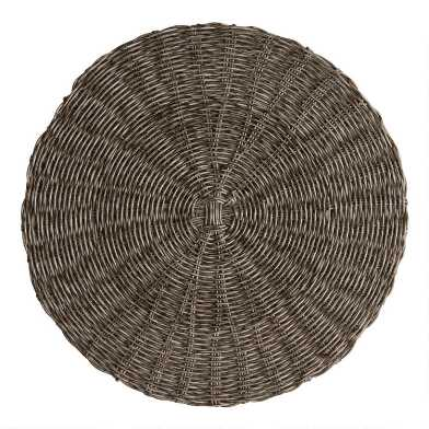 Round Gray Faux Rattan Wipe Off Placemat
