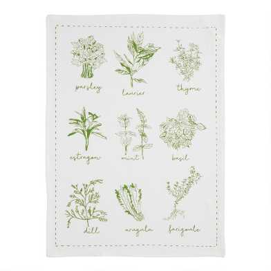 Edible Greenery Flour Sack Kitchen Towel