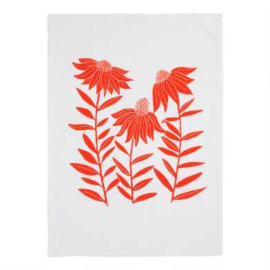 Orange Floral Flour Sack Kitchen Towel