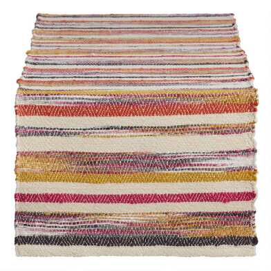 Warm Multicolor Chindi Stripe Table Runner