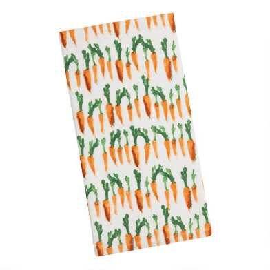 White and Orange Watercolor Carrot Kitchen Towel