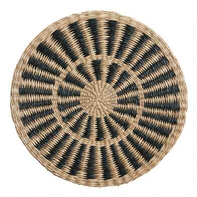 Round Natural and Black Woven Fiber Placemat