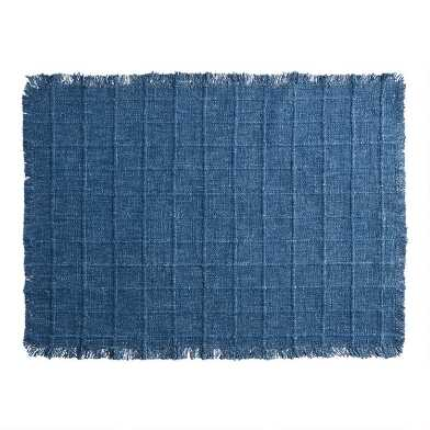 Blue Windowpane Placemats with Fringe Set of 2