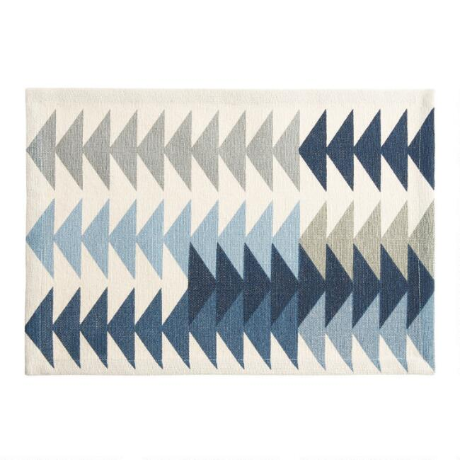 Ivory and Blue Geometric Arrows Placemat