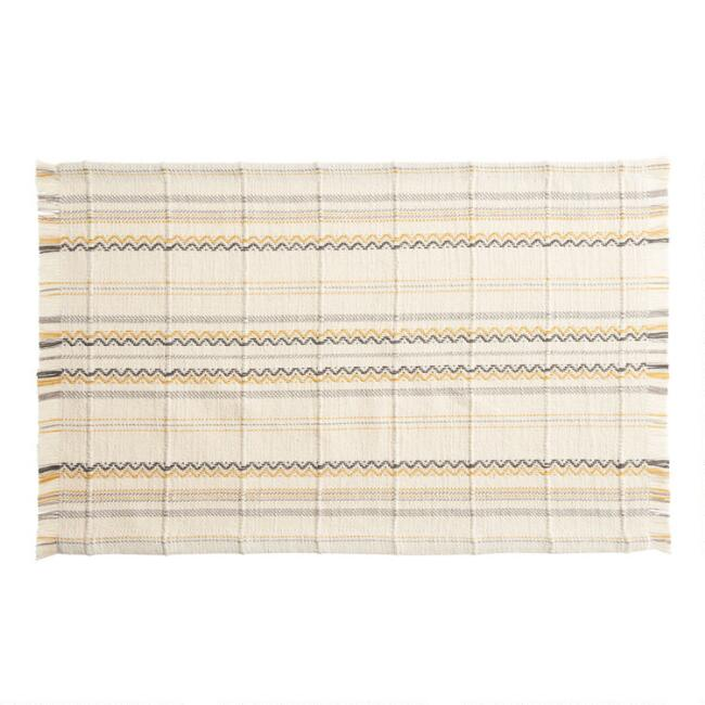 Yellow and Gray Woven Geo Stripe Placemats Set of 2