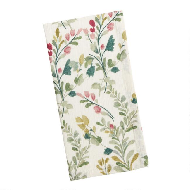 Ivory, Rust and Green Floral Napkins Set of 2