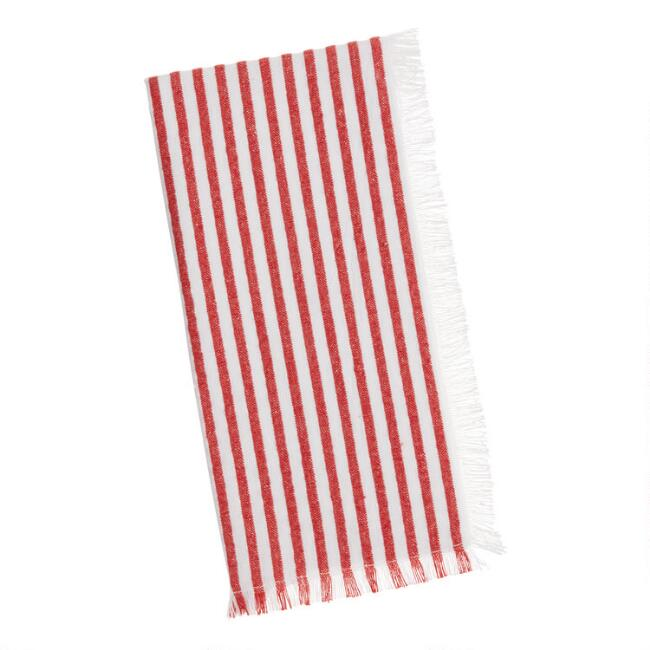 Red and Ivory Seersucker Stripe Napkins Set of 2