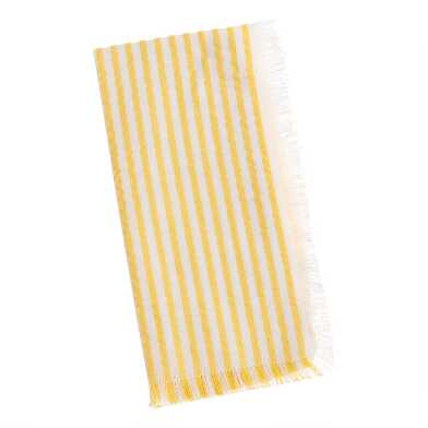 Yellow and Ivory Seersucker Stripe Napkins Set of 2