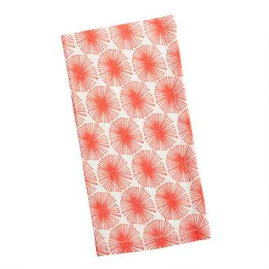 Ivory and Red Sand Dollar Napkins Set of 4