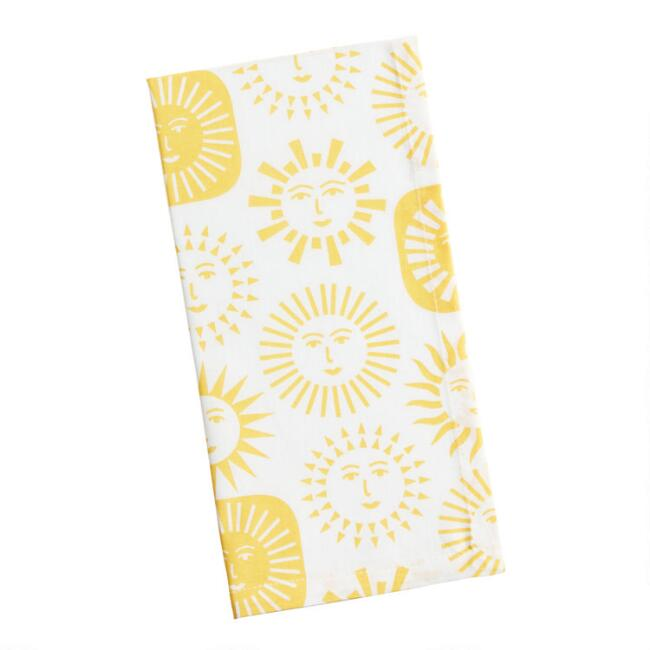 Ivory and Yellow Celestial Suns Napkins Set of 4