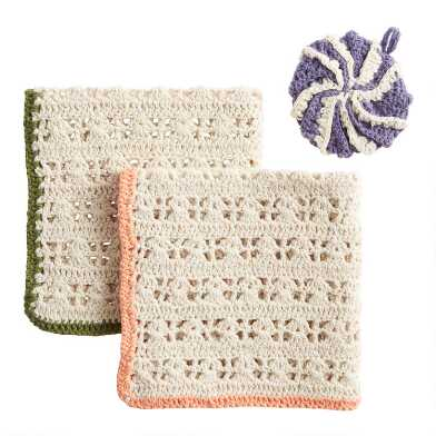 Crocheted Dishcloth and Scrubber 3 Piece Set