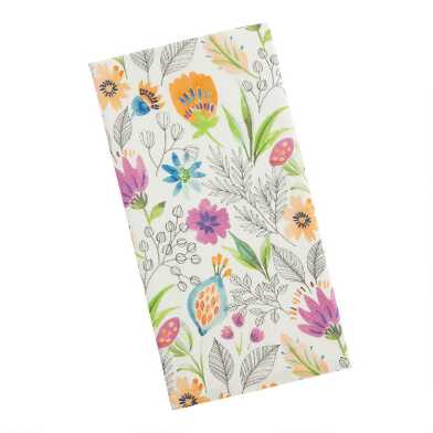 White Multicolor Posey Fields Kitchen Towel