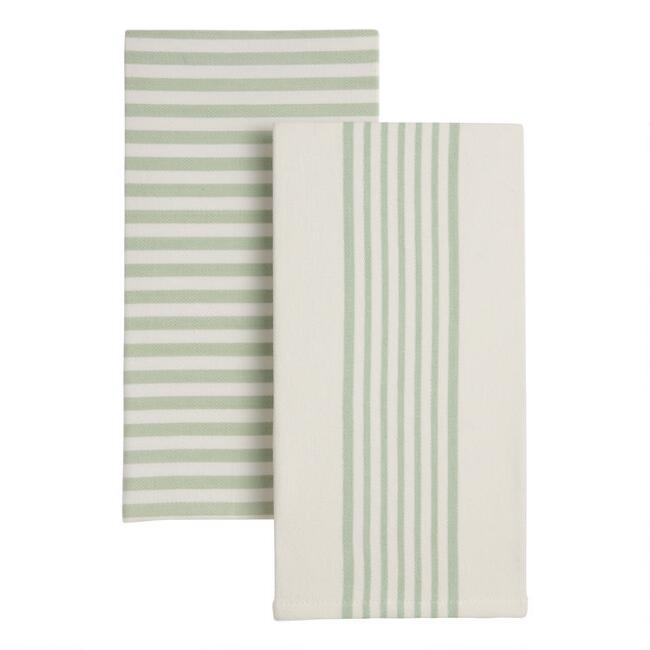 Jadeite Stripe Kitchen Towels 2 Pack