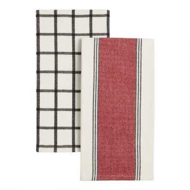 Black, White and Red Kitchen Towels 2 Pack