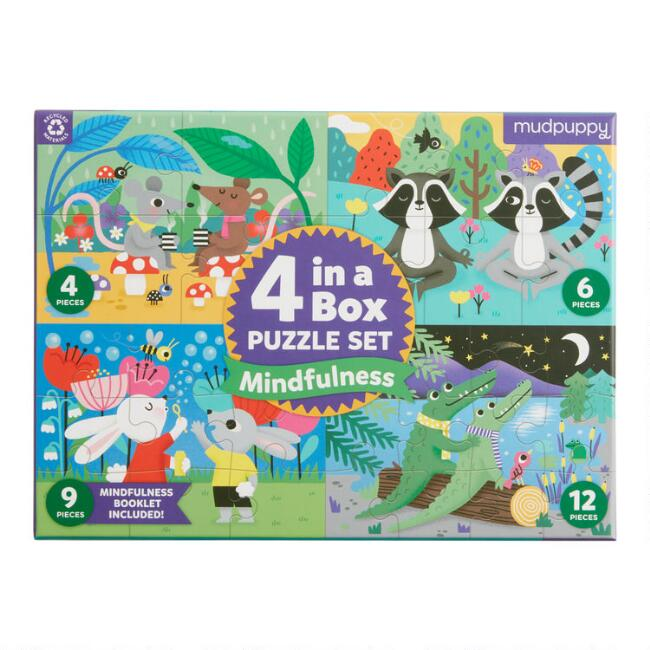Mudpuppy 4 in a Box Mindfulness Puzzle Set