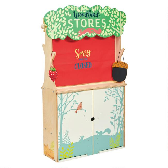 Tender Leaf Toys Woodland Stores and Puppet Theatre Play Set