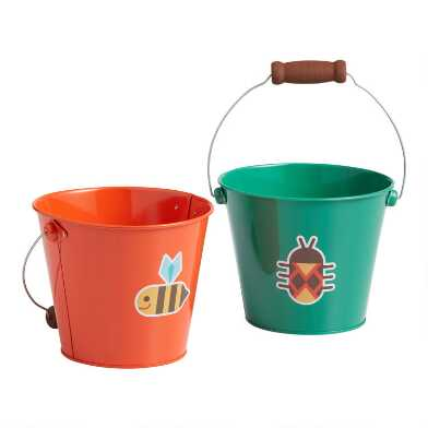 Toysmith Orange and Green Metal Pails Set of 2
