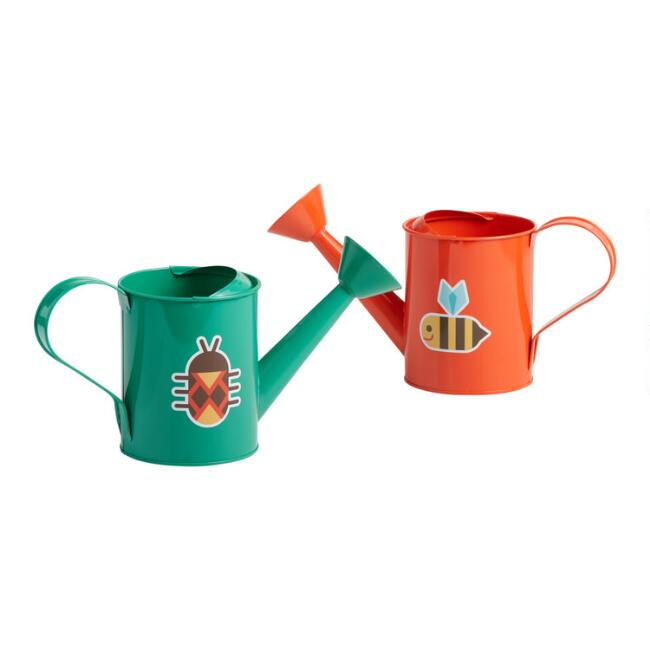 Toysmith Orange and Green Metal Watering Cans Set of 2