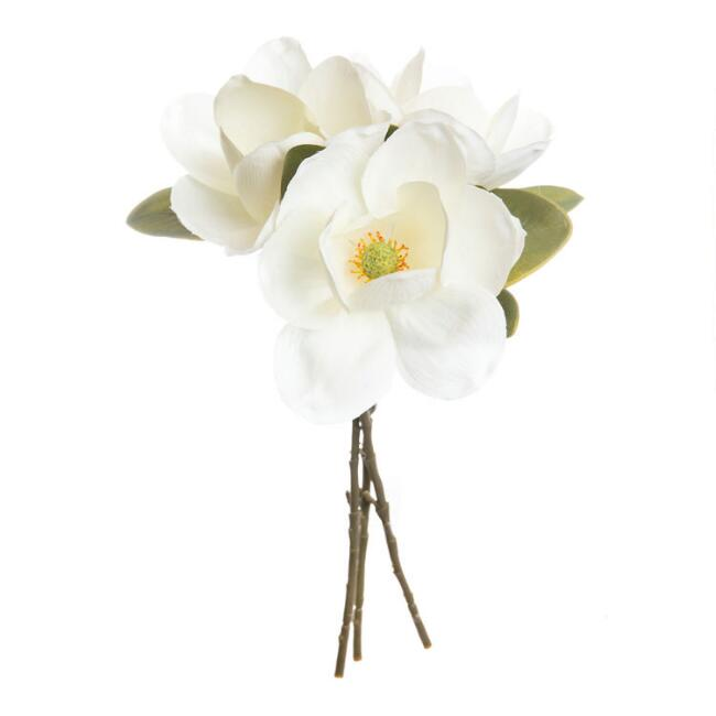 Faux White Magnolia Bunch