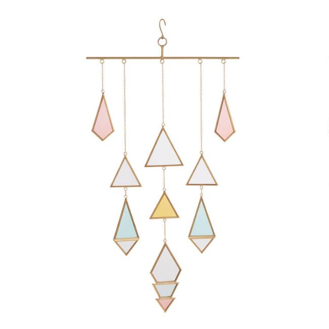 Geometric Glass and Brass Hanging Decor