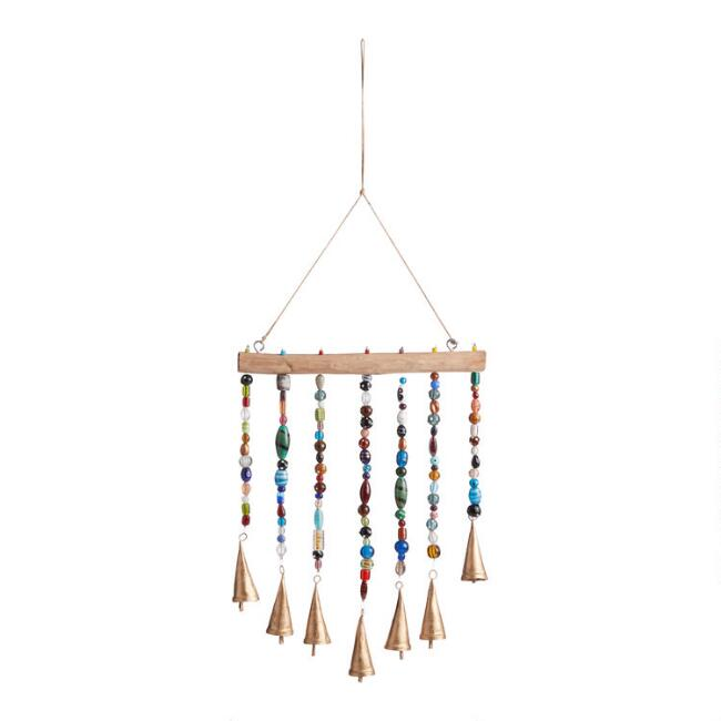 Multicolor Bead and Gold Bell Wind Chime