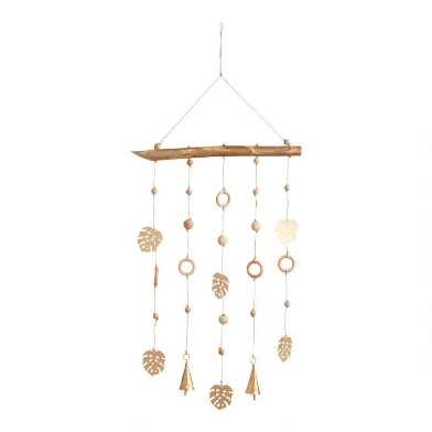 Wood Bead and Gold Metal Monstera Leaf Wind Chime