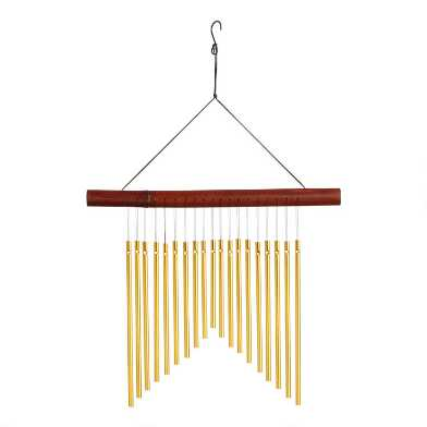 Mahogany Bamboo and Gold Metal Wind Chime