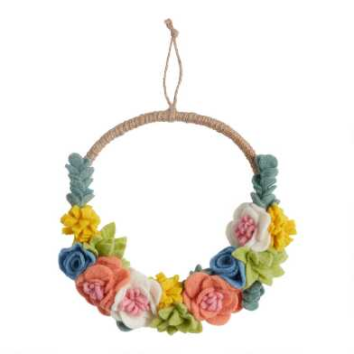 Felted Wool and Jute Floral Wreath
