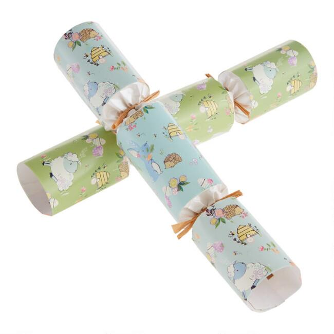 Blue and Green Racing Bunny Easter Crackers 6 Count