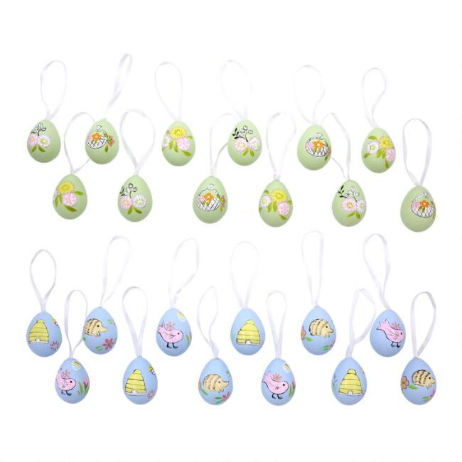 12 Pack Mini Hand Painted Easter Egg Ornaments Set of 2