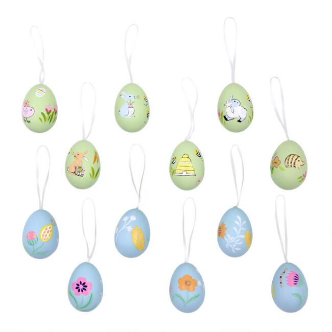 6 Pack Hand Painted Easter Egg Ornaments Set of 2