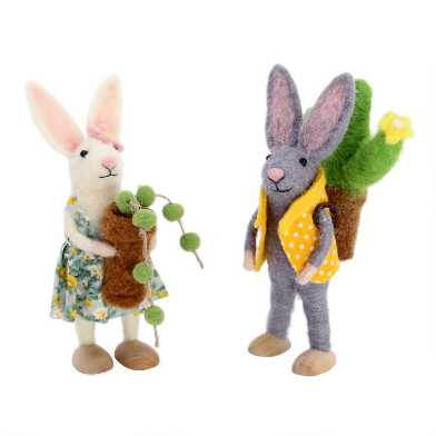 Felted Wool Bunnies with Succulents Set of 2