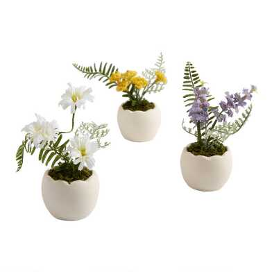Faux Spring Flowers in Egg Pots Set of 3