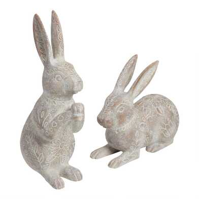Whitewash Etched Bunnies Set of 2
