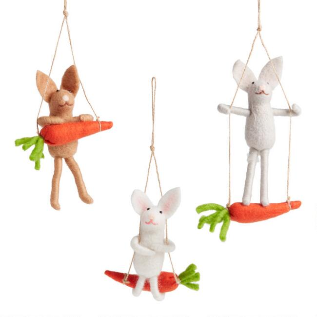 Felted Wool Bunny on Carrot Swing Hanging Decor Set of 3
