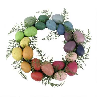 Speckled Rainbow Egg and Faux Fern Wreath