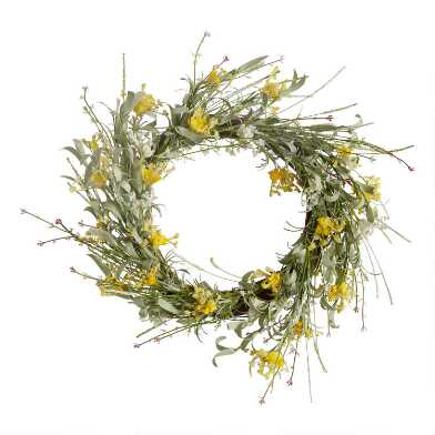 Yellow and White Faux Wildflower Wreath