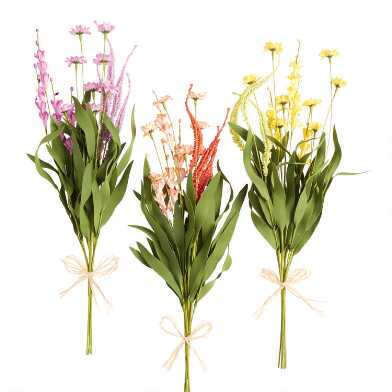 Faux Spring Wildflower Bunches Set Of 3