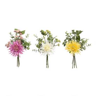 Faux Dahlia And Succulent Bunches Set Of 3