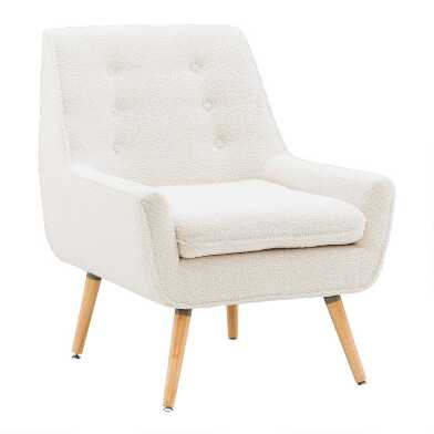Ivory Faux Sherpa Brooks Upholstered Armchair