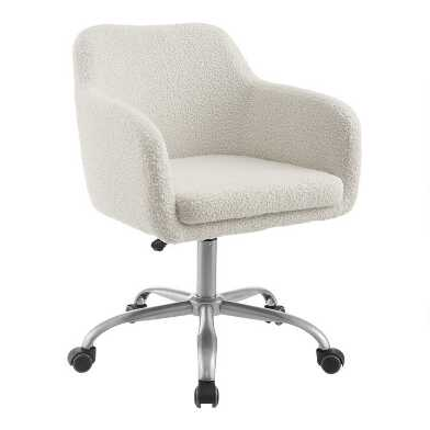 Ivory Faux Sherpa Ryan Upholstered Office Chair