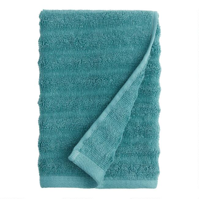 Mineral Blue Sculpted Wave Hand Towel