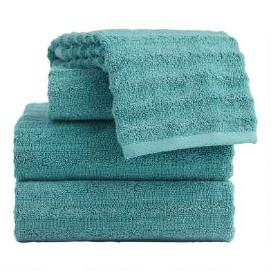 Mineral Blue Sculpted Wave Towel Collection