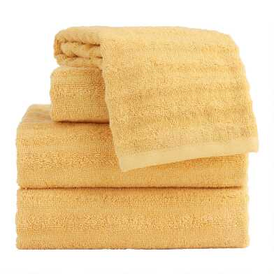 Yellow Ocher Sculpted Wave Towel Collection