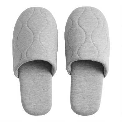 Heather Gray Quilted Slippers
