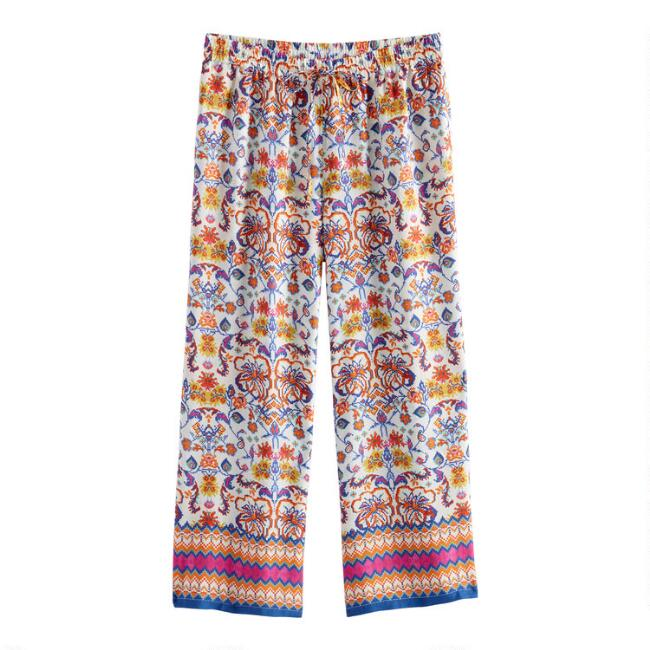 Orange and Blue Floral Cropped Frida Pajama Pants