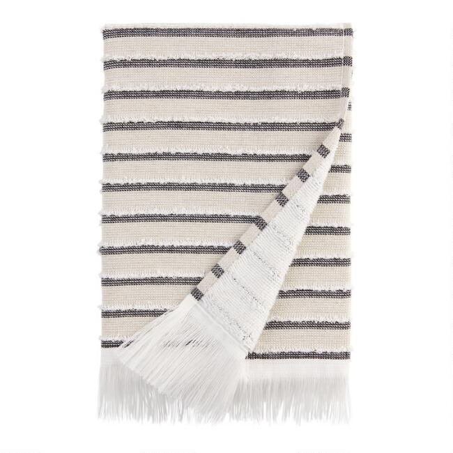 Black, Taupe and Ivory Woven Stripe Taza Hand Towel