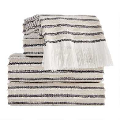 Black, Taupe and Ivory Woven Stripe Taza Towel Collection