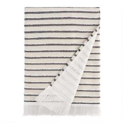 Black, Taupe and Ivory Woven Stripe Taza Bath Towel